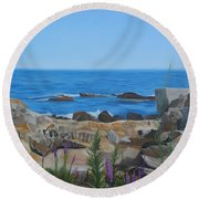 Bass Rocks Gloucester Round Beach Towel