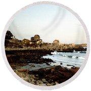 Bass Rocks Sunset Round Beach Towel