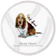 Basset Hound Pop Art Round Beach Towel