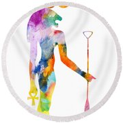 Bastet- God Of Ancient Egypt Round Beach Towel