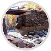 Bastion Falls Bridge 4 Round Beach Towel
