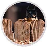 Bat Squirrel  The Cape Crusader Known For Putting Away Nuts.  Round Beach Towel
