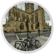 Bath Abbey 2.0 Round Beach Towel