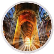 Bath Abbey Sun Rays Round Beach Towel