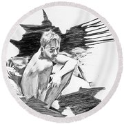 Bathed In White Light Round Beach Towel