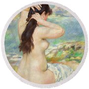 Bather Arranging Her Hair Round Beach Towel by Pierre Auguste Renoir