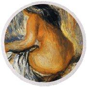 Bather From The Back Round Beach Towel