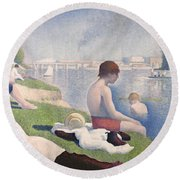 Bathers At Asnieres Round Beach Towel by Georges Pierre Seurat