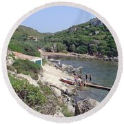 Bathers At Cales Coves Round Beach Towel