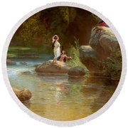 Bathers At The River. Evening In Orinoco? Round Beach Towel