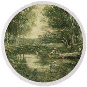Bathers. Woodland Round Beach Towel