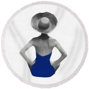 Bathing Beauties Usa Red White Blue Round Beach Towel