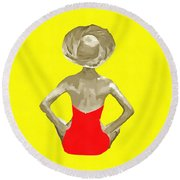 Bathing Beauty Red Suit Painting Round Beach Towel