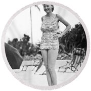 Bathing Suit Made Of Currency Round Beach Towel