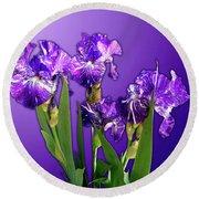 Batik Irises Round Beach Towel