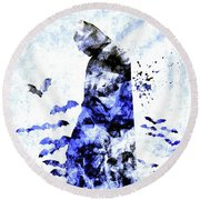 Batman Colored Grunge Round Beach Towel