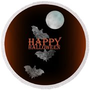Bats And The Moonlight - Happy Halloween Round Beach Towel