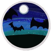 Bats At Night Round Beach Towel