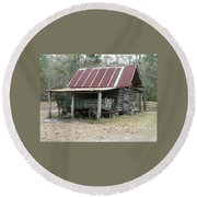 Battered Barn And Weathered Wagon Round Beach Towel