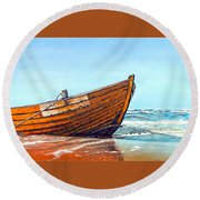 Battered By The Sea Round Beach Towel