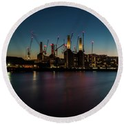 Battersea Power Station On The Thames, London Round Beach Towel