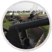 Battery Of Cannons At Fort Mchenry Round Beach Towel