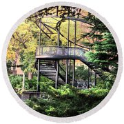 Battery Park Fall Colors  Round Beach Towel