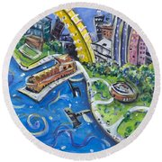 Battery Park Round Beach Towel
