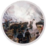 Battle Between Kearsarge And Alabama Round Beach Towel by War Is Hell Store