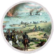 Battle Between The Monitor And Merrimac Round Beach Towel