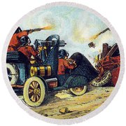 Battle Cars, 1900s French Postcard Round Beach Towel