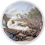 Battle Of Corinth, 1862 Round Beach Towel