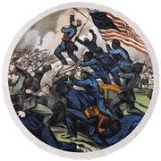 Battle Of Fort Wagner, 1863 Round Beach Towel