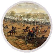 Battle Of Gettysburg Round Beach Towel by Thure de Thulstrup