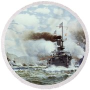 Battle Of Manila Bay 1898 Round Beach Towel