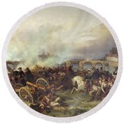 Battle Of Montereau Round Beach Towel by Jean Charles Langlois