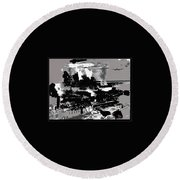 Battle Of Stalingrad Nazi Plane Crossing Volga River 1942 Round Beach Towel
