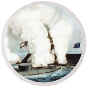 Battle Of The Monitor And Merrimack Round Beach Towel