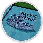 Battle Ship Round Beach Towel