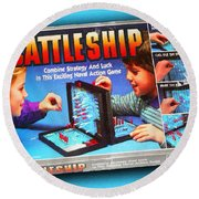 Battleship Board Game Painting  Round Beach Towel