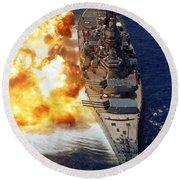Battleship Uss Iowa Firing Its Mark 7 Round Beach Towel by Stocktrek Images