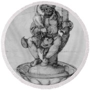 Bauer Goose With A Fountain Figure Round Beach Towel