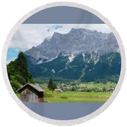 Bavarian Alps Landscape Round Beach Towel