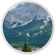 Bavarian Alps With Shed Round Beach Towel