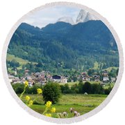 Bavarian Alps With Village And Flowers Round Beach Towel
