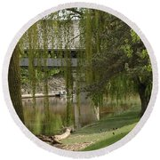 Bavarian Covered Bridge Over The Cass River Frankenmuthmichigan Round Beach Towel