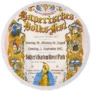 Bavarian Volksfest New York Vintage Poster 1897 Round Beach Towel