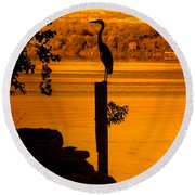 Bay At Sunrise - Heron Round Beach Towel