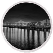 Bay Bridge San Francisco California Black And White Round Beach Towel