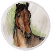 Bay Horse Portrait Watercolor Painting 02 2013 Round Beach Towel